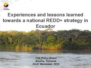 Experiences and lessons learned towards a national REDD