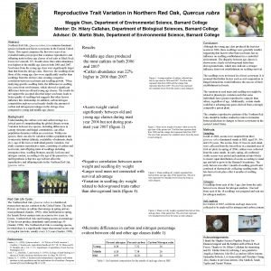 Reproductive Trait Variation in Northern Red Oak Quercus