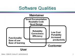 Software Qualities Maintainer Good Documentation Readable Code Good