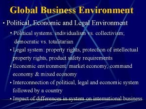 Global Business Environment Political Economic and Legal Environment