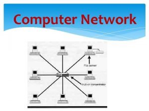 Computer Network TOPOLOGY 1 bus topology The network