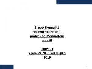Proportionnalit rglementaire de la profession dducateur sportif Travaux