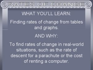 WHAT YOULL LEARN Finding rates of change from