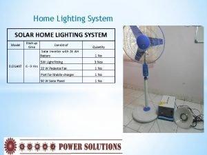 Home Lighting System SOLAR HOME LIGHTING SYSTEM Model
