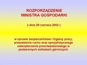 ROZPORZDZENIE MINISTRA GOSPODARKI z dnia 28 czerwca 2002