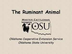 The Ruminant Animal Oklahoma Cooperative Extension Service Oklahoma