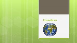 Ecosystems Setting Up Your Journal Title page Ecosystems