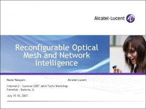 Reconfigurable Optical Mesh and Network Intelligence Nazar Neayem
