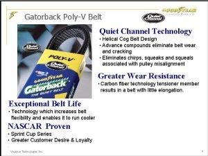 Gatorback PolyV Belt Quiet Channel Technology Helical Cog