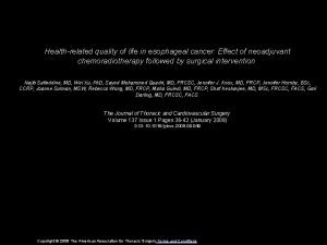 Healthrelated quality of life in esophageal cancer Effect
