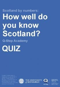 Scotland by numbers How well do you know