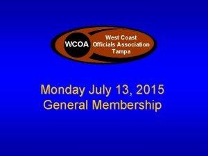 West Coast Officials Association WCOA Officials Association Tampa