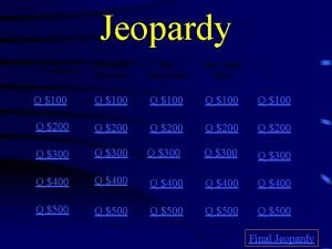 Jeopardy Renewable Resources Non Renewable The United States