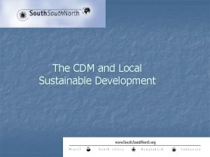 The CDM and Local Sustainable Development The CDM