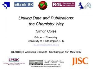 Linking Data and Publications the Chemistry Way Simon