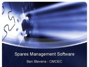 Spares Management Software Ben Stevens OMDEC Repairable Non