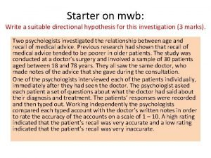 Starter on mwb Write a suitable directional hypothesis