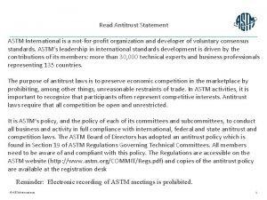 Read Antitrust Statement ASTM International is a notforprofit