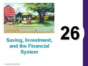 Saving Investment and the Financial System Copyright 2004