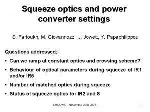 Squeeze optics and power converter settings S Fartoukh