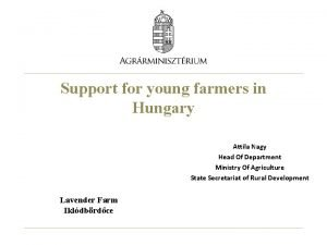 Support for young farmers in Hungary Attila Nagy