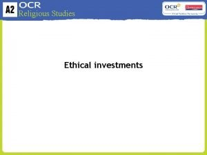 Religious Studies Ethical investments Religious Studies What is
