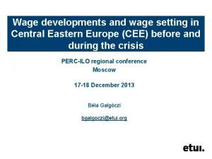 Wage developments and wage setting in Central Eastern