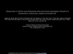 Reslizumab in children and adolescents with eosinophilic esophagitis