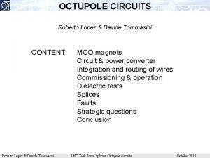 OCTUPOLE CIRCUITS Roberto Lopez Davide Tommasini CONTENT Roberto