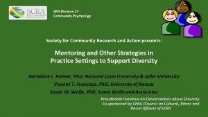 APA Division 27 Community Psychology Society for Community