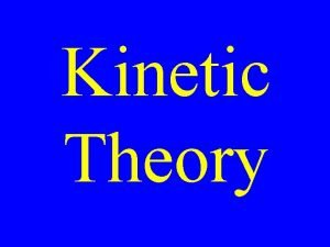 Kinetic Theory All matter is made up of