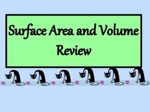 Surface Area and Volume Review What is the