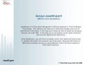 Sensys Asset Expert Effective Asset Management Asset Expert