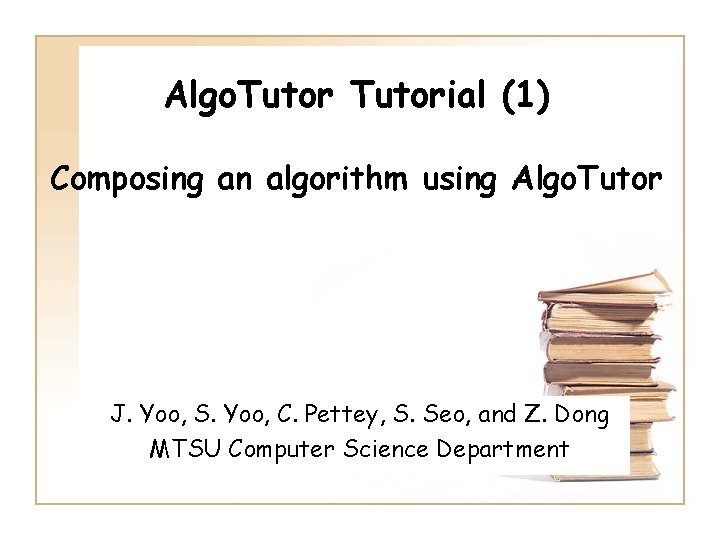 Algo Tutorial 1 Composing an algorithm using Algo