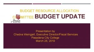 BUDGET RESOURCE ALLOCATION COMMITTEE BUDGET UPDATE Presentation by