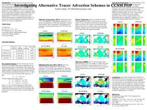Introduction The tracer advection scheme used in the