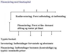 Finansiering med lnekapital Realinvestering Frst udbetaling s indbetaling