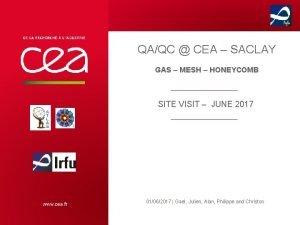 QAQC CEA SACLAY GAS MESH HONEYCOMB SITE VISIT