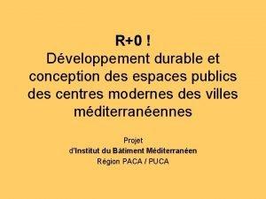 R0 Dveloppement durable et conception des espaces publics