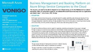 Microsoft Azure CASE STUDY Business Management and Booking