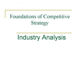 Foundations of Competitive Strategy Industry Analysis Strategy Flowchart
