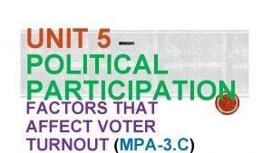 UNIT 5 POLITICAL PARTICIPATION FACTORS THAT AFFECT VOTER