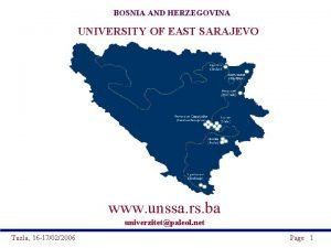 BOSNIA AND HERZEGOVINA UNIVERSITY OF EAST SARAJEVO www
