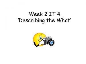 Week 2 IT 4 Describing the What Week