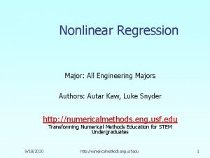 Nonlinear Regression Major All Engineering Majors Authors Autar