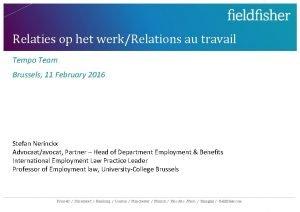 Relaties op het werkRelations au travail Tempo Team