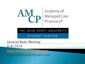General Body Meeting 982014 www amcposu weebly com