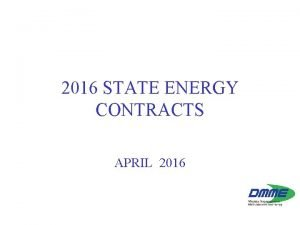 2016 STATE ENERGY CONTRACTS APRIL 2016 2014 Energy