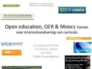 Open education OER Moocs Kansen voor internationalisering van