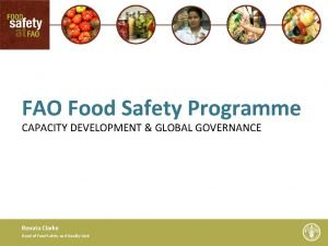 FAO Food Safety Programme CAPACITY DEVELOPMENT GLOBAL GOVERNANCE